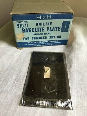 Sealed H&H Hart & Hegeman Uniline Bakelite Single Gang Switch Plates NOS Brown