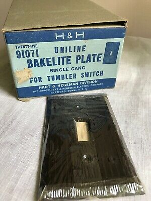 Full Box Of 25 Hart &Hegeman Uniline Bakelite Single Gang Switch Plates NOS Brwn