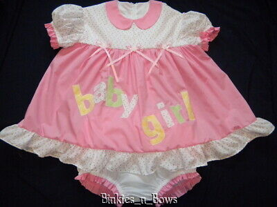 """Adult Baby Sissy Littles ABDL Attached TWO-ZEE """"Baby Girl"""" Dress Set"""