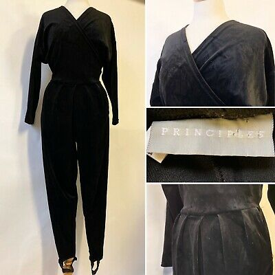 Vintage 1980's Black Velvet Jumpsuit Playsuit Ski Pants Disco Party Size 12