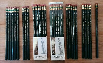 38 Vintage Venus Drawing Pencils 11-HB, 8-5H, 5-3H, 4-2H, 3-4H, 6-F, 1 6H