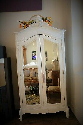 Beautiful White Painted Solid Wood Armoire Wardrobe Louis Style Mirrored French