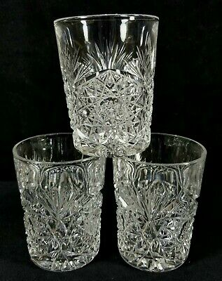 3 Antique ABP Cut Glass Crystal Juice Tumblers Hand Cut Stars Fans 3.7 Inch EXC