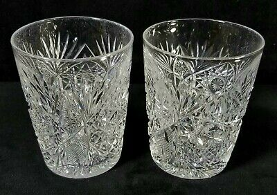 Antique ABP Lot Of 2 Cut Glass Crystal Tumblers Hand Cut Stars Fans 4 Inch GOOD