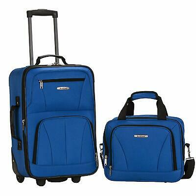 $240 New Rockland 2 PC Carry On Luggage Set Rolling Wheel Suitcase Blue Royal