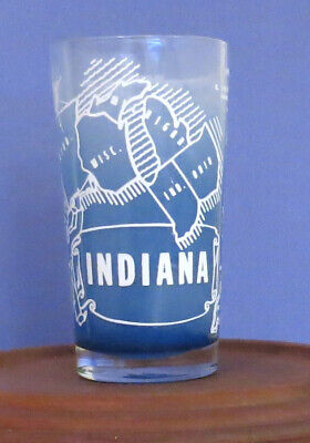 Vintage Mid Century Souvenir Indiana State Glass Tumbler Blue Frosted Gay Fad