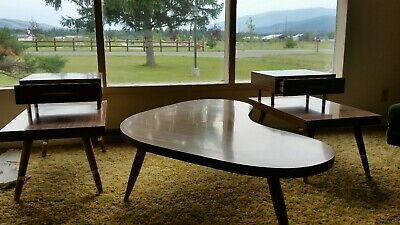 1950's mid century end tables and coffee table