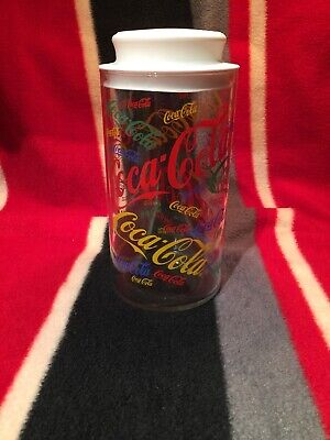 Vintage Coca Cola Coke Straw Dispenser Canister Jar Glass Primary Logo Retro