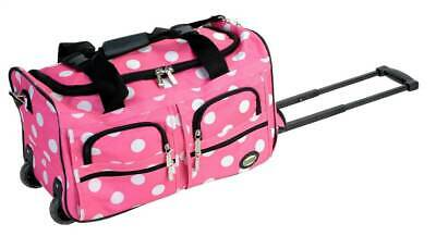 Rockland 22-Inch Rolling Duffle Bag in Pink w White Dots [ID 28239]