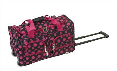 Rockland 22-Inch Rolling Duffle Bag in Black w Pink Dots [ID 28240]