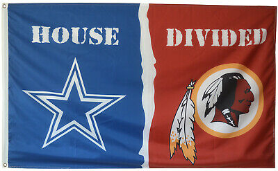 Dallas Cowboys vs Washington Redskins House Divided Flag 3x5ft NFL Sports Banner