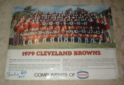 1975 CLEVELAND BROWNS FOOTBALL TEAM PHOTO SOHIO POSTER w CHARLIE HALL AUTOGRAPH