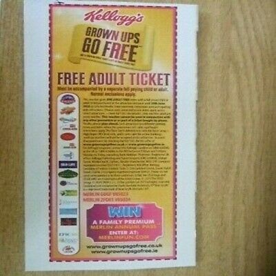 1 X Kellogg's Merlin Adult Ticket Voucher - Expiry: 30/06/20