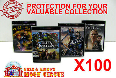 100x 4K UHD WITHOUT SLIPCOVER - CLEAR PROTECTIVE BOX PROTECTOR SLEEVE CASE