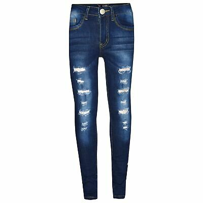 Kids Girls Skinny Jeans Dark Blue Denim Ripped Stretchy Pants Jeggings 3-13 Year