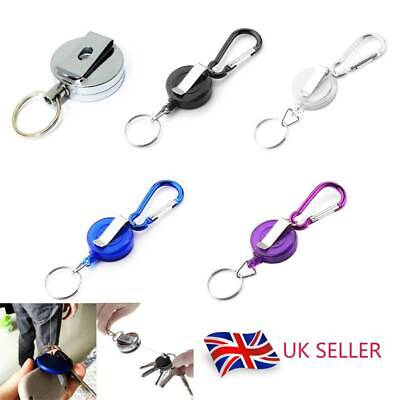 1/2PCS Retractable Stainless Keyring Pull Ring Key Chain Rope Recoil Heavy Duty