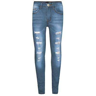 Kids Girls Skinny Jeans Light Blue Denim Ripped Stretchy Pants Jeggings 3-13 Yrs