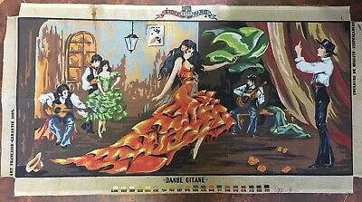 VINTAGE Unworked ETOILE TAPESTRY CANVAS Cotton FLAMENCO DANCER Spanish