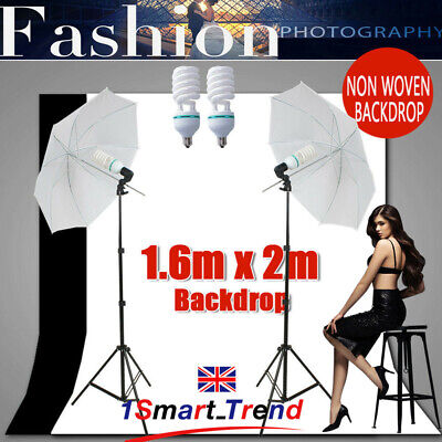 Photography Umbrella Continuous Lighting Stand Kit Studio Black White Backdrops