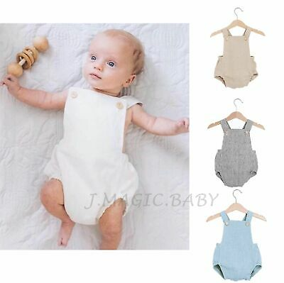 Baby Boy Girl Unisex Newborn Classic Simple Linen Cotton Romper Outfit One-Piece