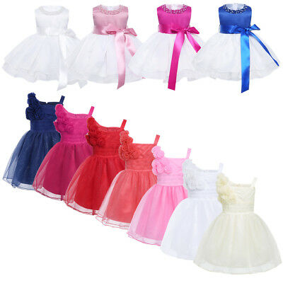 Flower Girl Dresses Baby Bowknot Princess Party Wedding Christening Formal Gown
