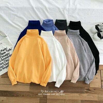 Men's Thermal High Collar TurtleNeck Long Sleeve Sweater Stretch Pullover Shirt