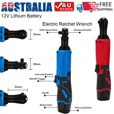 "12V Lithium Battery Rechargeable Electric Wrench Cordless 3/8"" Ratchet Wrench AU"