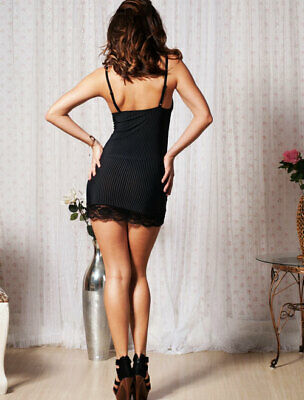 970-06-04244 Sexy Babydoll a Strisce Bianche in Pizzo Floreale Sexy Shop Nero TU