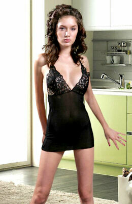 970-06-BEA2081 Sexy Babydoll nero decorato in pizzo floreale Sexy Shop TU NMK 59