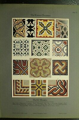 100+ year old antique vintage color print ancient Roman Ornament Marble Mosiacs