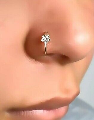 Silver Clip On Small Thin Flower Crystal Nose Ring Stud 1 98