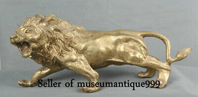 """13.2"""" Old Chinese Bronze Copper Feng Shui Lion Beast King Statue Sculpture"""