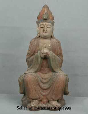 "14"" Ancient China Buddhism lacquerware Wood Seat Guanyin Kwan-yin Goddess Statue"