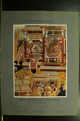 100+ year old antique vintage color print ancient Buddhist cave temple paintings