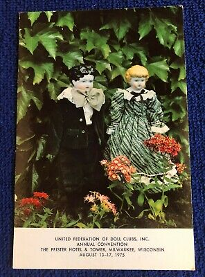 United Federation of Doll Clubs Inc Rare Convention Card 1975 Milwaukee Wi.