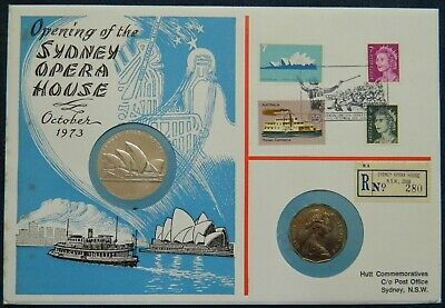 RARE 1973 50 Cents Opening Sydney Opera House Coin & Medallion PNC by Hutt Comm.