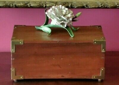 antique mahogany wood box british colonial campaign jewelry trinket document