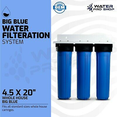 "3 Stage - Big Blue Whole House Water Filtration System - 1"" Inlets"