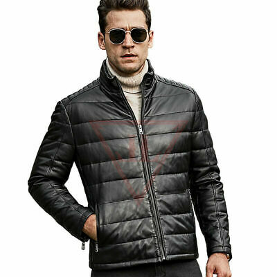 Men,s Real Leather Genuine Quilted Puffer Zipped Biker Style Jacket Black Casual