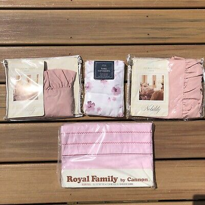 Vintage Pink Full Flat Sheets, Pillowcases, Shams Lot Cotton Percale