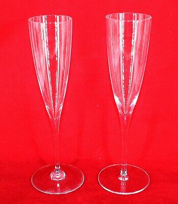 """Baccarat French Crystal Set of 2 Tall 9.25"""" Dom Perignon Champagne Flutes"""