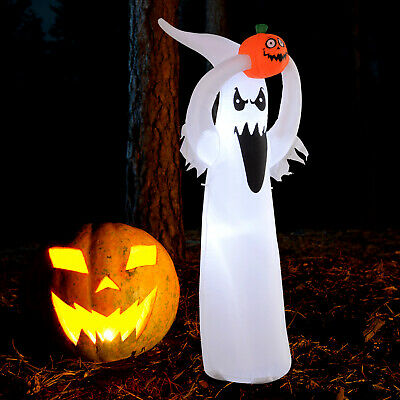 HOMCOM 6ft LED Outdoor Halloween Inflatable Decoration - Ghost with Pumpkin