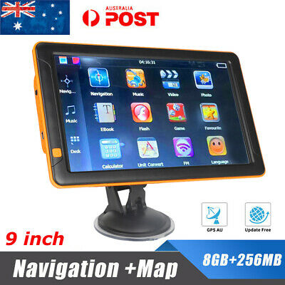 "9"" Truck Car GPS Navigation 8GB Navigator SAT Free AU Map Touch Screen FM MP3"