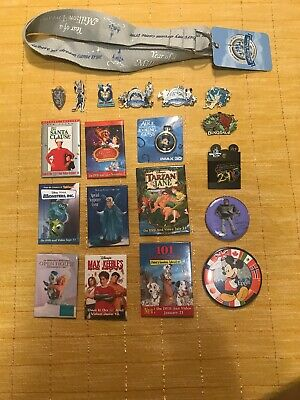 Lot Of 19 Different Disney Pins And Buttons With Lanyard Collectibles Mickey