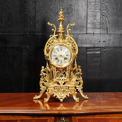 Antique French Gilt Bronze Baroque Boudoir Clock