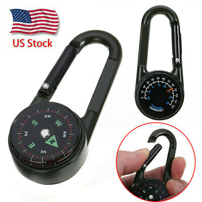 Double-sided Keychain Multifunctional Metal Carabiner Compass Thermometer nXETP