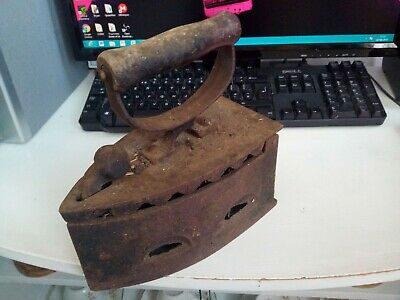 Cast Iron Charcoal Clothes Iron Ironing Wooden Handle Antique