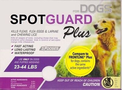 Generic Frontline Plus for Dogs (23-44 lbs) Flea & Tick ~ 3 Doses USA Seller