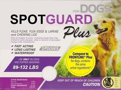 Generic Frontline Plus for Dogs (89-132 lbs) Flea & Tick ~ 3 Doses USA Seller