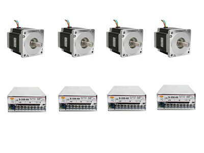 4PC Nema34 Stepper Motor 965oz.in 5.6A 4leads&4PC Power Supply 350W-60V CNC KIT